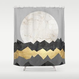 Landscape collage marble IV Shower Curtain