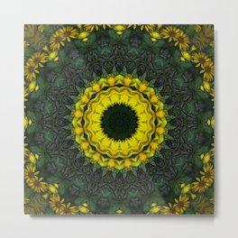 Large Yellow Wildflower Kaleidoscope Art 8 Metal Print