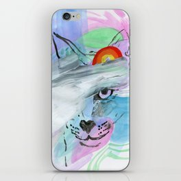 Coy Cat with Rainbow iPhone Skin