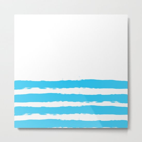 Simply hand-painted teal stripes on white background -Mix & Match Metal Print
