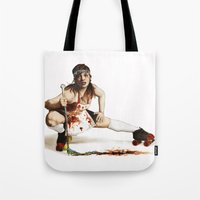 roller derby Tote Bags featuring Roller Derby Girl by FeatherStone