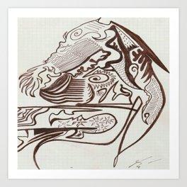 Encre brun Art Print