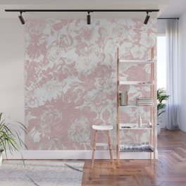 Girly trendy pink coral white lace floral Wall Mural