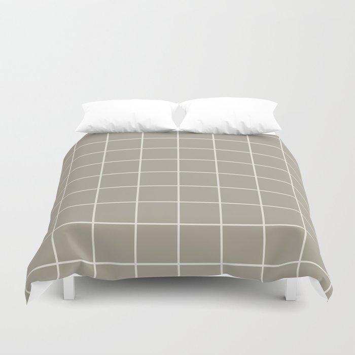 Gray Grey Alabaster Grid Duvet Cover