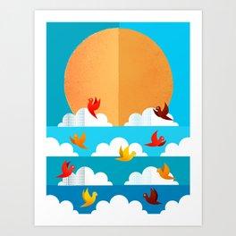 Birds Flying High In The Sky Art Print