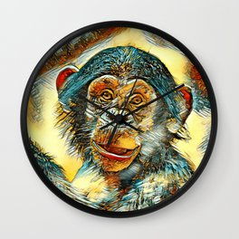 AnimalArt_Chimpanzee_20170602_by_JAMColorsSpecial Wall Clock