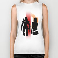 nan lawson Biker Tanks featuring Commander Shepard and Miranda Lawson by Pixel Design