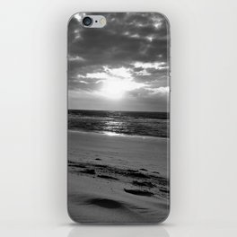 Netherlands Zeeland Ouddorp Beach Summer Late Sunset black white iPhone Skin