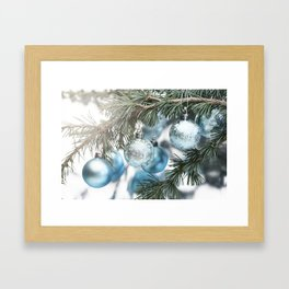 Blue Christmas baubles on tree Framed Art Print