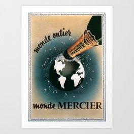Vintage 1950 Monde Mercier Champagne Advertisement Art Print