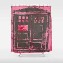 pink tardis Shower Curtain