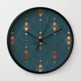 Copper Art Deco on Emerald Wall Clock