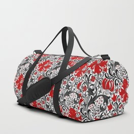 William Morris Iris and Lily, Black, White and Red Duffle Bag