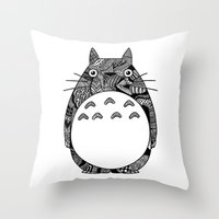 ghibli Throw Pillows featuring Ghibli Zentangle by Riaora Creations