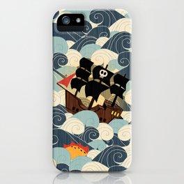Pirates on stormy seas iPhone Case