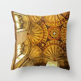 Looking to heaven: fan ceiling in Canterbury Cathedral Throw Pillow