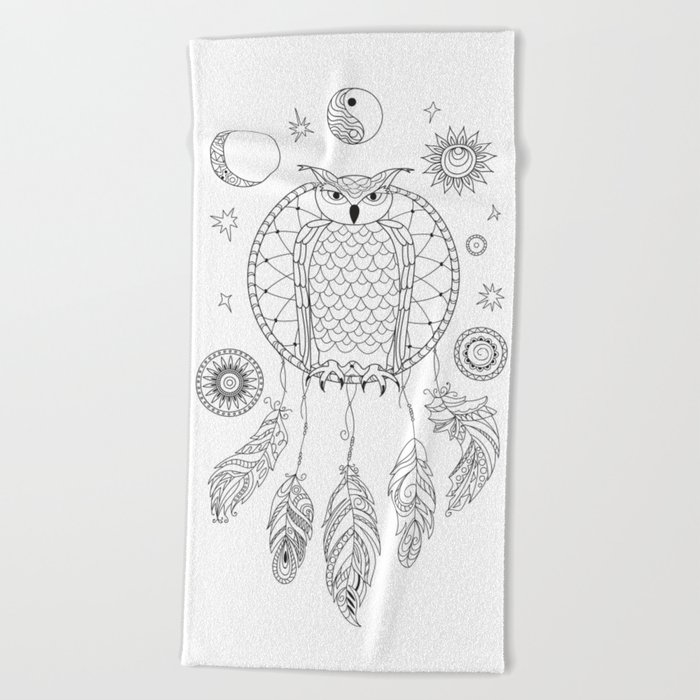 Dreamcatcher With Owl Yin Yang Moon And Sun Beach Towel By