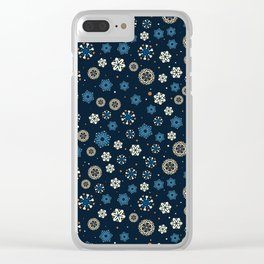 Festive Blue Snowflake Pattern Clear iPhone Case