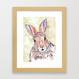 Peek-a-boo Hare Framed Art Print