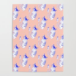 Neon cat in peach Poster