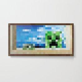 Seaside Creeper Painting Pixel Art Metal Print