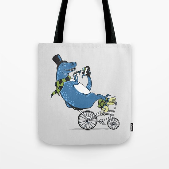 Tandem T-Rex Tastes Tea with Tucan, as Turtle Toils Tote Bag