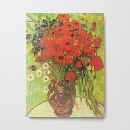 Still Life: Red Poppies and Daisies by Vincent van Gogh Metal Print