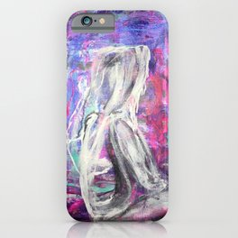 Thoughts: a colorful abstract piece in pinks and blues by KKingCreations iPhone Case