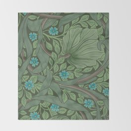 "William Morris ""Forget-Me-Nots"" (""Pimpernel"" detail) Throw Blanket"