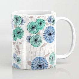 Blue & Green Flower Pattern Coffee Mug