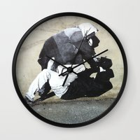 banksy Wall Clocks featuring BANKSY  by Art Ground