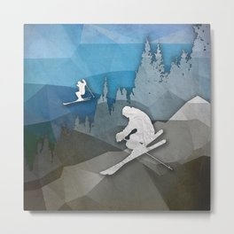 The Skiers Metal Print