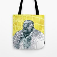gangster Tote Bags featuring real gangster by jenapaul