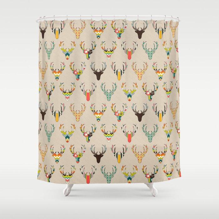 Retro Deer Head On Linen Shower Curtain By Sharonturner Society6
