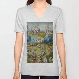 Hieronymus Bosch - The Garden of Earthly Delights - Medieval Oil Painting Unisex V-Neck