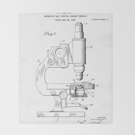 Microscope Patent - Scientist Art - Black And White Throw Blanket