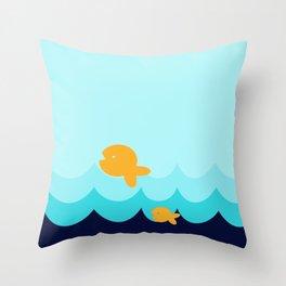 Beach Series Aqua- Gold Fish Animals in the deep Sea Throw Pillow