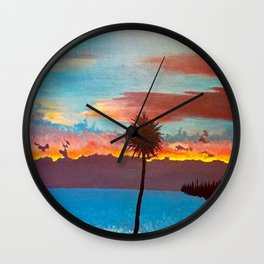 The Beautiful Key West Sun is captured in this ocean sunset painting Wall Clock