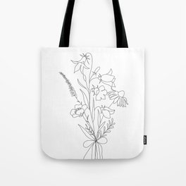 Small Wildflowers Minimalist Line Art Tote Bag