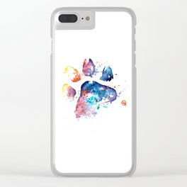 Dog Paw - Watercolor Painting - Pet Art Clear iPhone Case