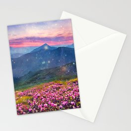 Blooming mountains Stationery Cards
