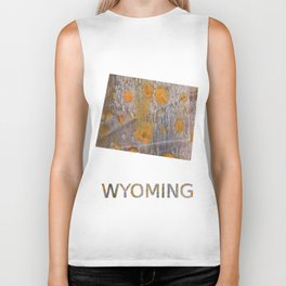 Wyoming map outline Yellow brown spots watercolor illustration Biker Tank