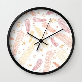 Orange palm tree leaves Wall Clock