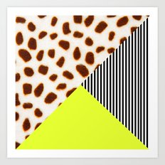 Cheetah Leo stripe and neon Art Print