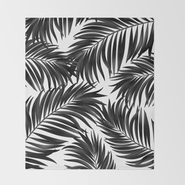 Palm Tree Fronds Black on White Maui Hawaii Tropical Graphic Design Throw Blanket