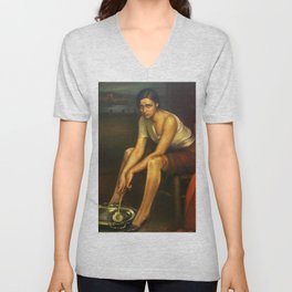 1930 Classical Masterpiece 'La Chiquita Piconera' by Julio Romero de Torres Unisex V-Neck