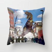 dinosaur Throw Pillows featuring Dinosaur by Beery Method