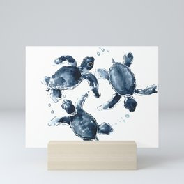 Turtle Swimming Sea Turtles indigo blue turtle art Mini Art Print