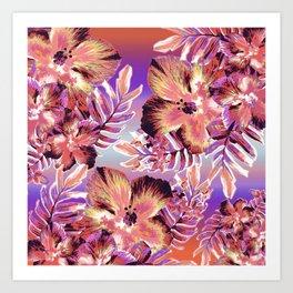 Hula Hibiscus Sunset Art Print