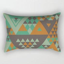 triangles-green-brown-orange-KNIT Rectangular Pillow